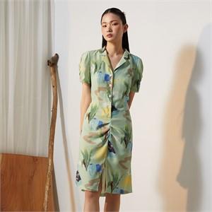 [줄리빈즈] Home Tailored Collar Draped Dress