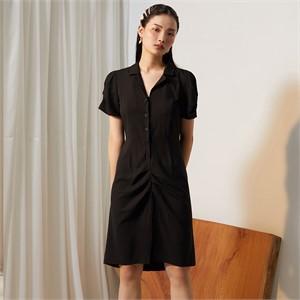 [줄리빈즈] Black Tailored Collar Drape Dress