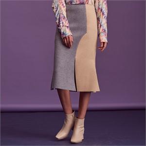 [블리다] skyblue colorblock skirt