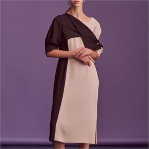 [블리다]  black/beige colorblock dress