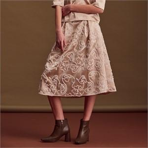[블리다] gold flower midi skirt