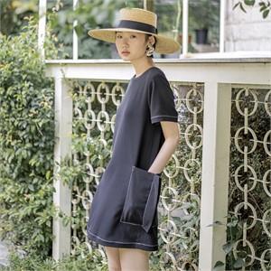 [블리다] black stitch pocket dress
