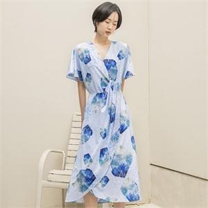 [블리다] icy blue wrap dress