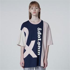[와이케이] 엔돌핀 컬러블록 반팔티셔츠 네이비