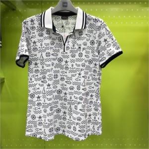 피에이티 NC05 프린트 반 오픈 티셔츠 1F 45107 네이비