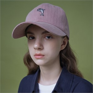 [와이케이] 스테디_ 돌핀 자수 피그먼트 볼캡 핑크