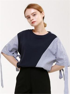 [분더가이스트] [분더가이스트] 소매끈 배색 반팔 티셔츠(네이비)