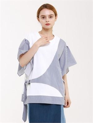 [분더가이스트] [분더가이스트] 배색여밈 버클 반팔 티셔츠(화이트)