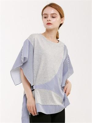 [분더가이스트] [분더가이스트] 배색여밈 버클 반팔 티셔츠(그레이)
