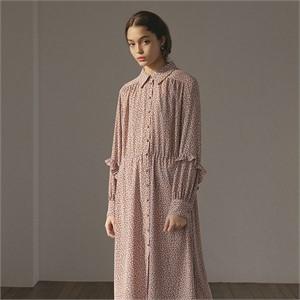 [션메익스클로스]예약3/20 SLEEVE FRILL PRINT DRESS