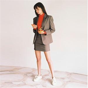[로지에] 18fw slit mini skirt brown check