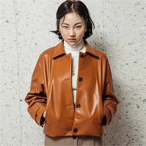 [스페로네]LAMB SKIN SHORT LEATHER JACKET [BROWN]