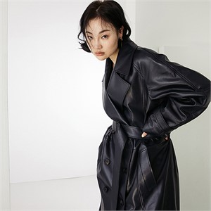 [스페로네]LAMB SKIN TRENCHCOAT [BLACK]