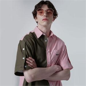 [와이케이] [손호영/타겟 로이 착용]하프디자인 오픈슬리브 반팔셔츠 핑크카키