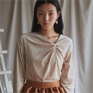[블리다] sandy draping velvet blouse