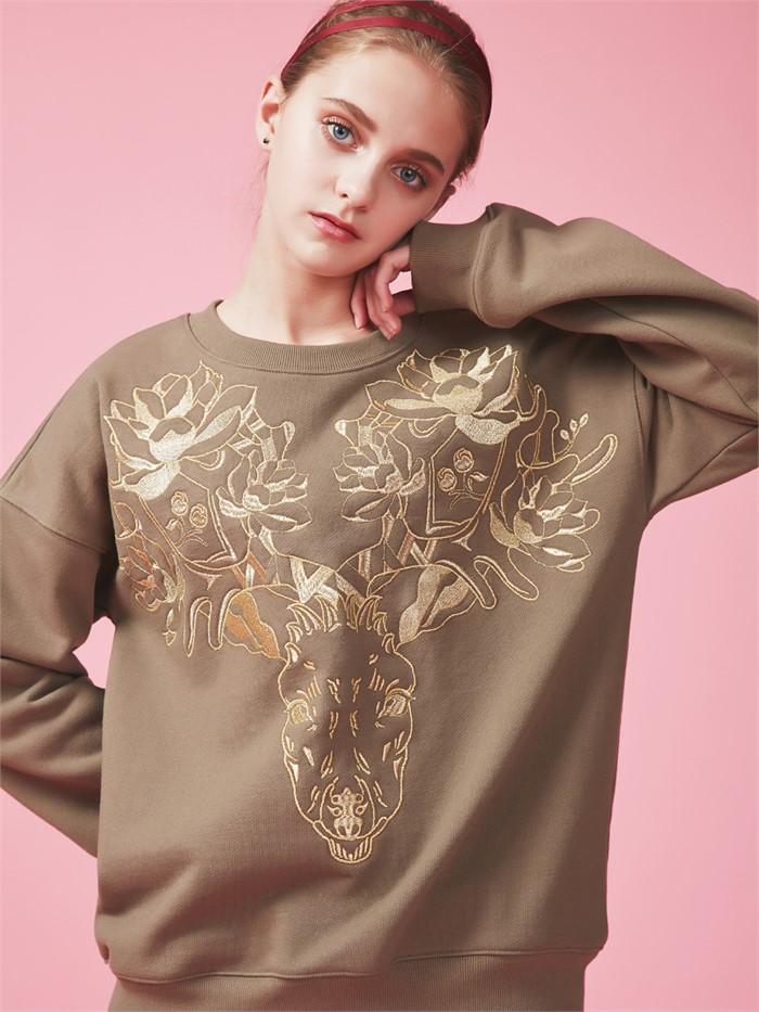 [아브라함케이한글] [아브라함케이한글]flower deer Sweat shirt