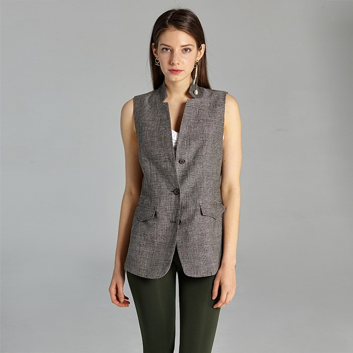 [준바이준케이] Tailored Linen Vest(Brown)