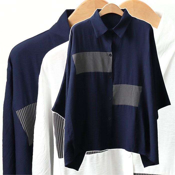 빅사이즈 가오리 셔츠 줄지 패턴 카라 남방 L197065