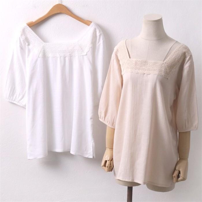 블라우스 빅사이즈의류 레이스 907 DBA6077 셔츠