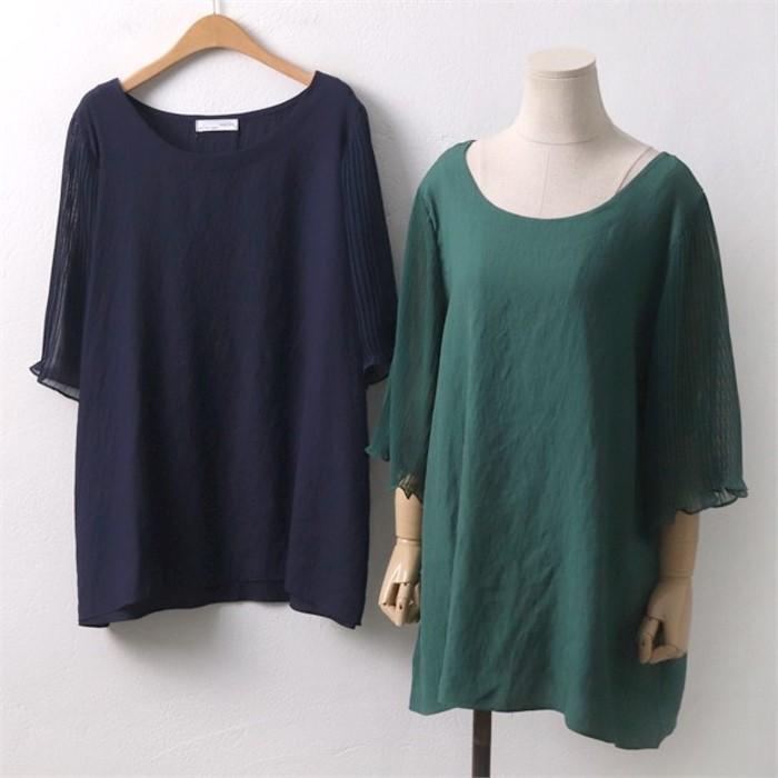 907 블라우스 플리츠 DIR6076 빅사이즈의류 셔츠 소매