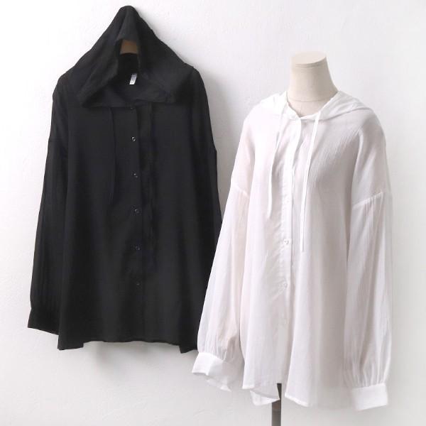 후드 끈 시스루 남방 빅사이즈 미시 여성 큰옷 의류