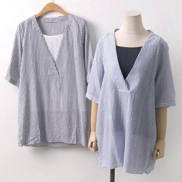 브이 레이어드 남방 빅사이즈 미시 여성 큰옷 의류