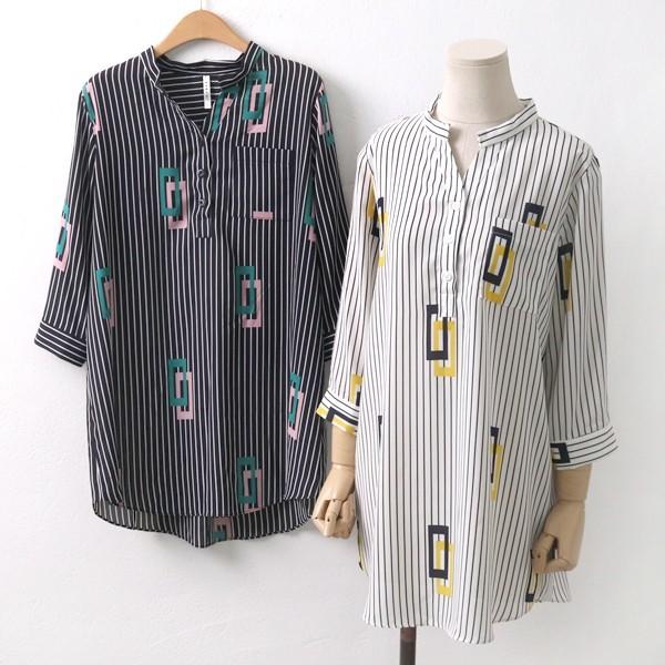 스트라이프 블라우스 빅사이즈 미시 여성 큰옷 의류