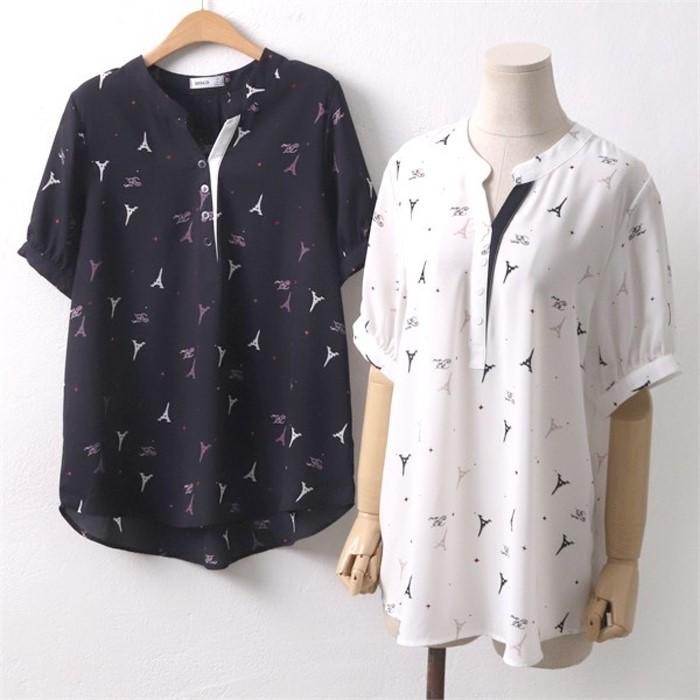 907 에펠탑 셔츠 자수 나염 DCO6064 프린트 블라우스