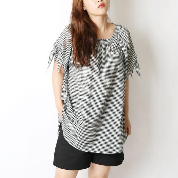 오프숄 체크 블라우스 빅사이즈 미시 여성 큰옷 의류