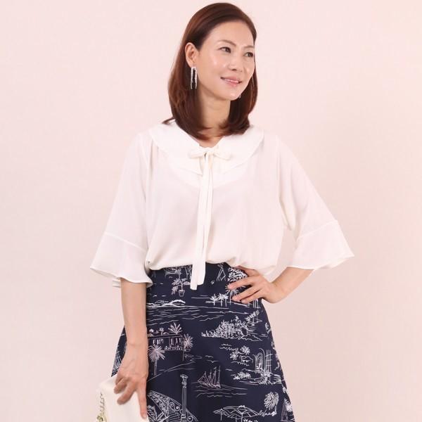 루즈끈 리본 블라우스 빅사이즈 미시 여성 큰옷 의류