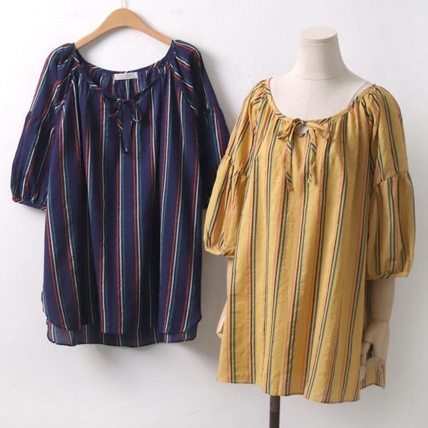 컬러줄지 블라우스 빅사이즈 미시 여성 큰옷 의류