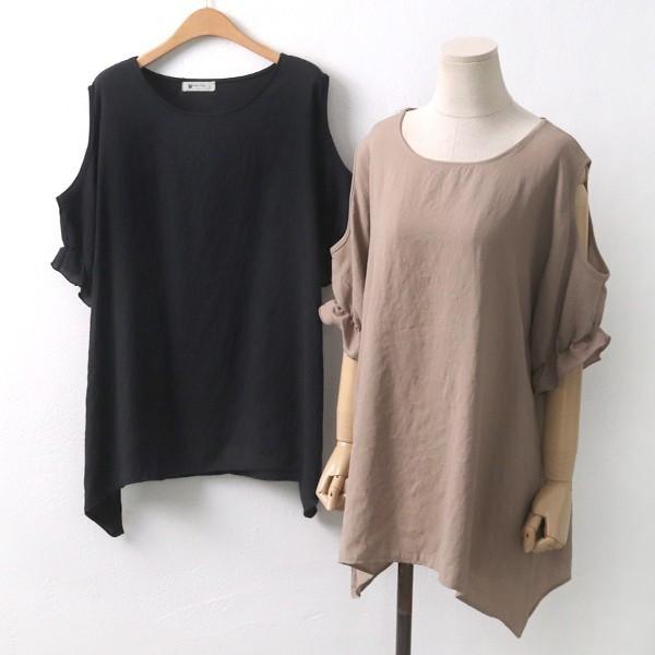 오픈 숄더 블라우스 빅사이즈 미시 여성 큰옷 의류