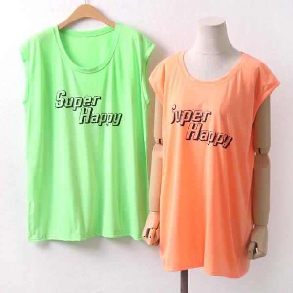 해피 민소매 티셔츠 빅사이즈 미시 여성 큰옷 의류