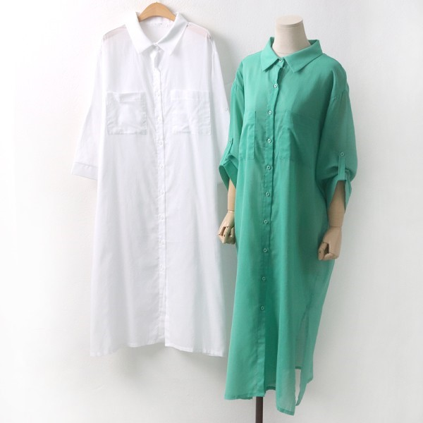 롱 시스루 포켓남방 빅사이즈 미시 여성 큰옷 의류