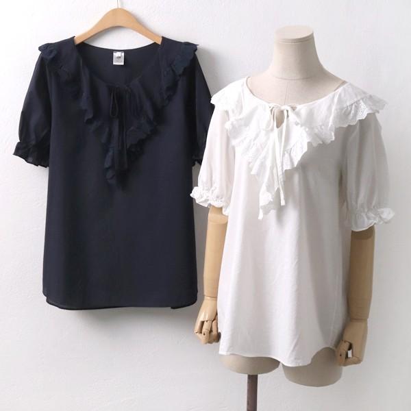 프릴 레이스 블라우스 빅사이즈 미시 여성 큰옷 의류