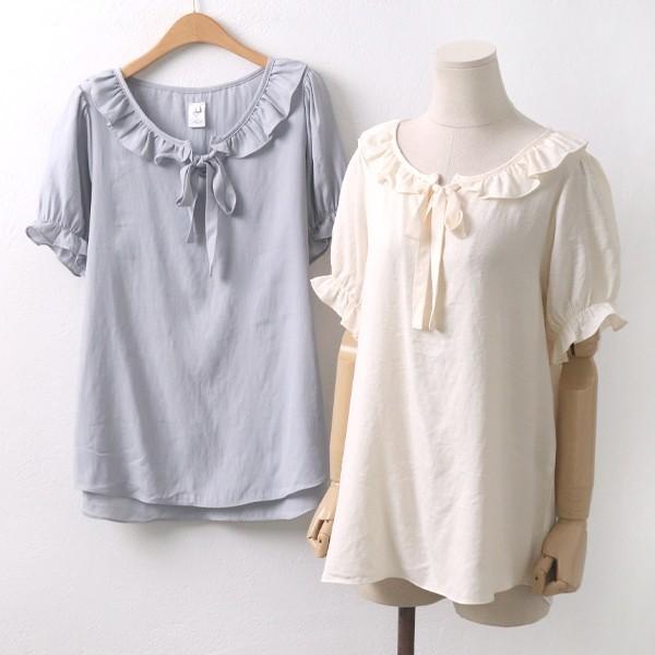 프릴 리본 블라우스 빅사이즈 미시 여성 큰옷 의류