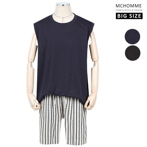 엠씨옴므 빅사이즈(~ 4XL) 심플 민무늬 라운드넥 민소매 티셔츠 SH19S58_NV