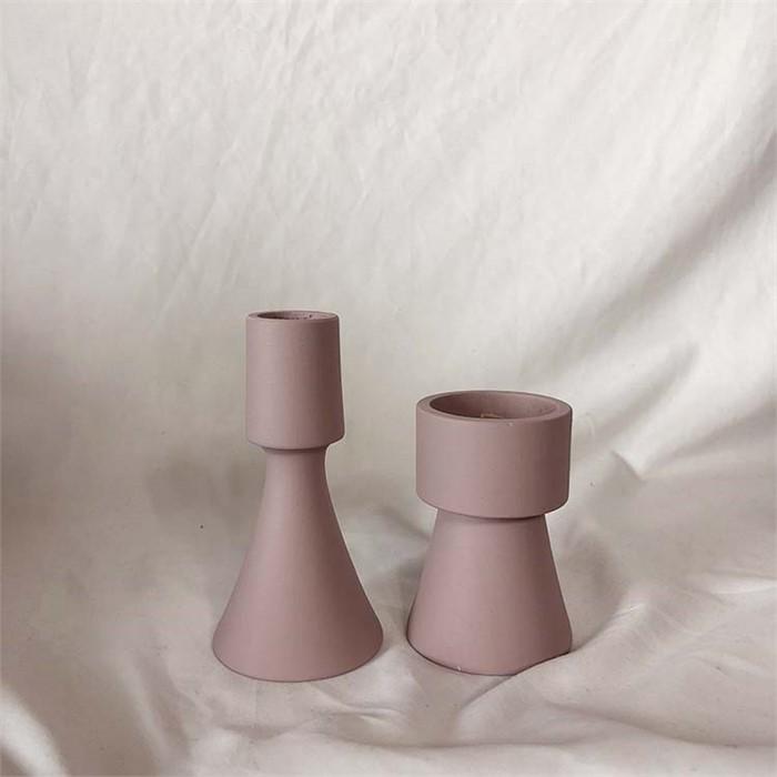 [피우다 (PIUDA)] 베이비핑크 미니촛대 (원형,삼각)
