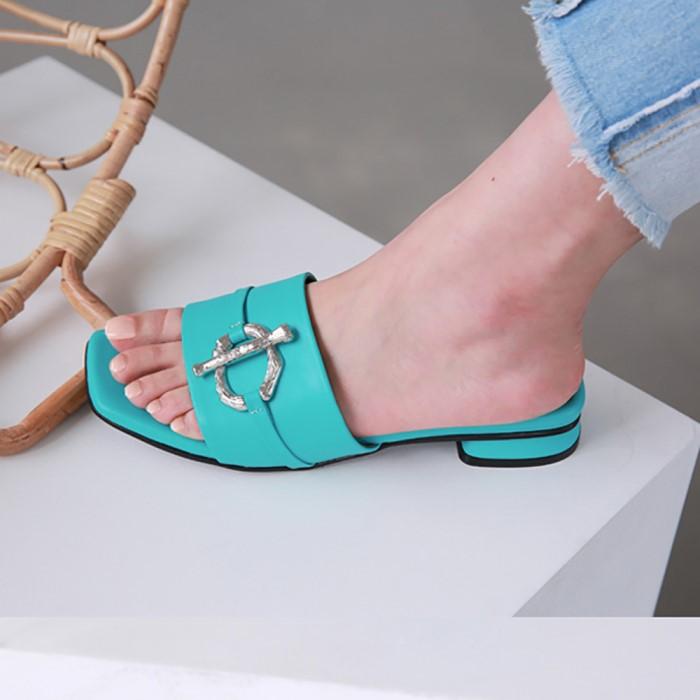 [메이엘듀]Metal Point Strap Sandals-MD19SS1038 Aqua