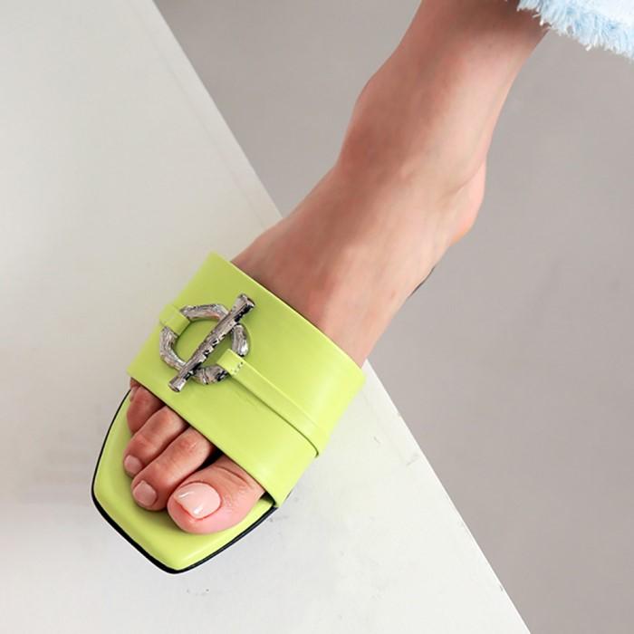 [메이엘듀]Metal Point Strap Sandals-MD19SS1038 Neon-Yellow