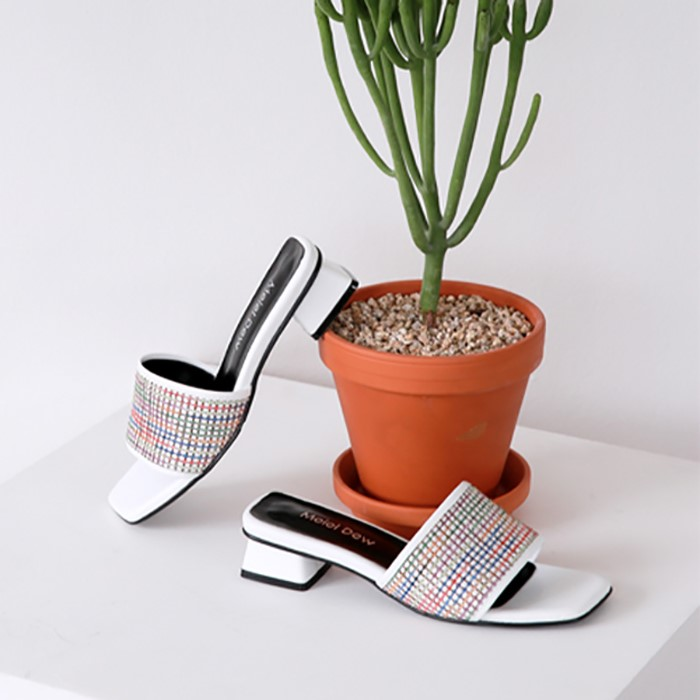 [메이엘듀]Fabric Slider Sandals-MD19SS1039 White