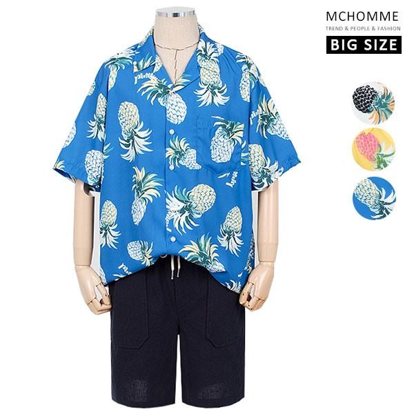 엠씨옴므 파인애플 패턴 오픈카라 하와이안 반팔 셔츠 AT19S12_BL