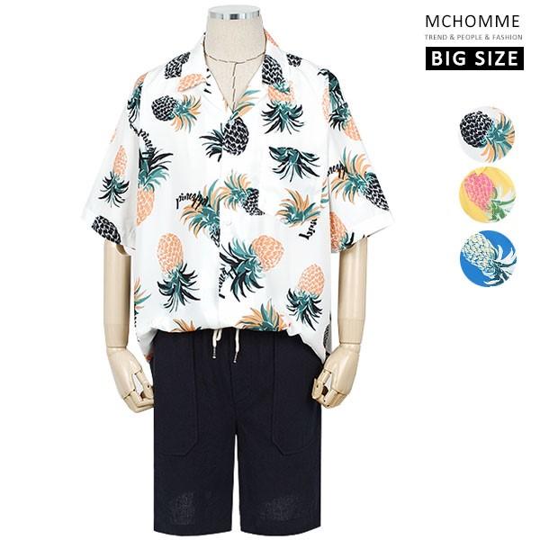 엠씨옴므 파인애플 패턴 오픈카라 하와이안 반팔 셔츠 AT19S12_W