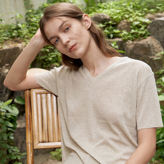 [ARETHAT] Linen Sleeve Knit OATMEAL