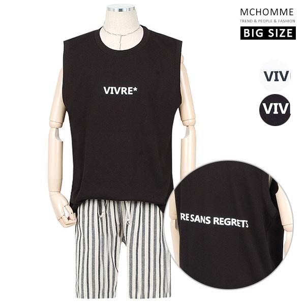 엠씨옴므 빅사이즈(~4XL) 베케이션 라벨 포인트 오버핏 민소매 티셔츠 SH19S57_B