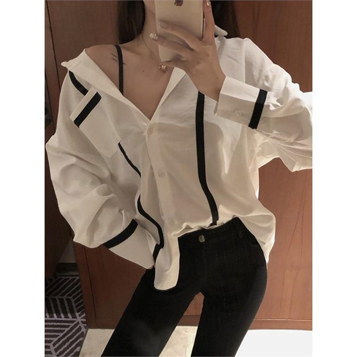 [ILRUA] [일루아]  티어셔츠 블라우스(화이트/블랙)