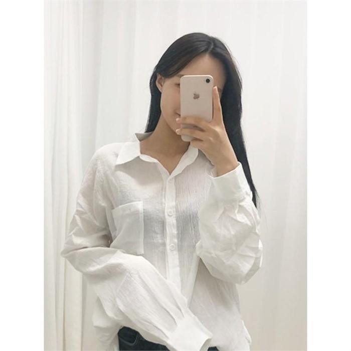 [ILRUA] [일루아]  일루아 주름 포켓 셔츠