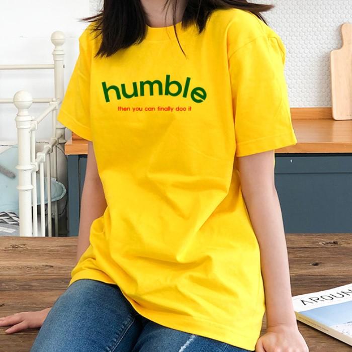 [험블스튜디오] 여성 기본 레터링 노란색 반팔 티셔츠