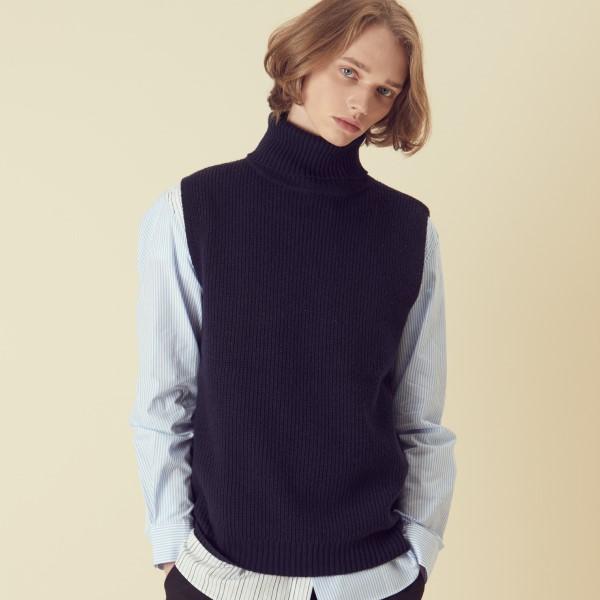 [아르테노] Wool80 Vest Turtle neck Knit - Navy
