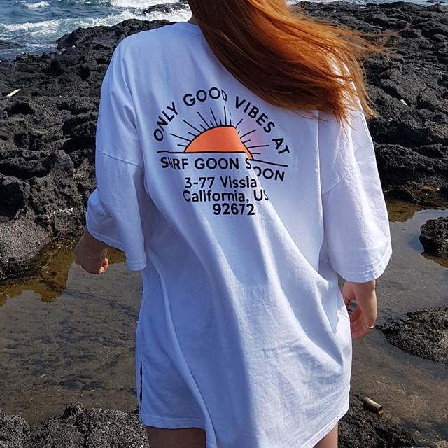 [쏘유마켓] 남녀공용 커플 프린팅 루즈핏 롱 트임 굿모닝 티셔츠